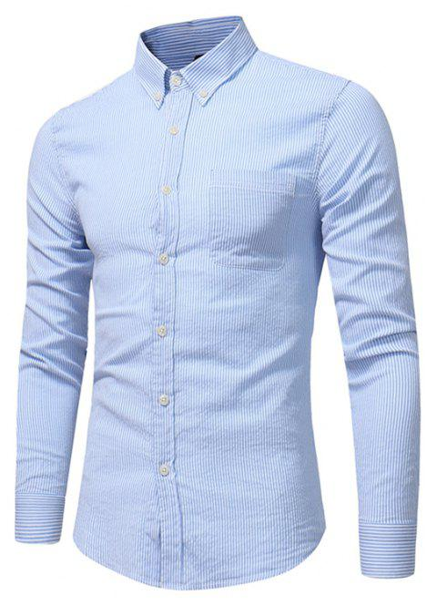 Perennial Hot Men'S Casual and Solid Color Long Sleeved Shirt C915 - LIGHT BULE 2XL