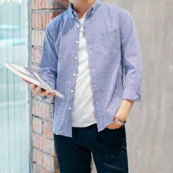 Perennial Hot Men'S Casual and Pure Color Long Sleeved Shirt C915 - DEEP BLUE 2XL