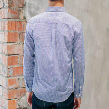 Perennial Hot Men'S Casual and Pure Color Long Sleeved Shirt C915 - DEEP BLUE S