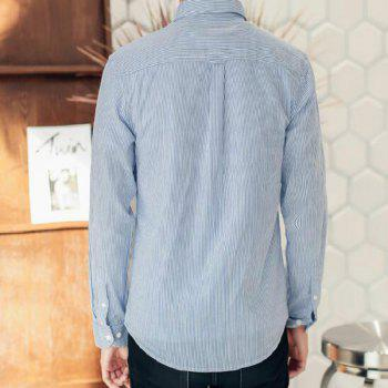 Perennial Hot Men'S Casual and Pure Color Long Sleeved Shirt C915 - LIGHT BULE XL
