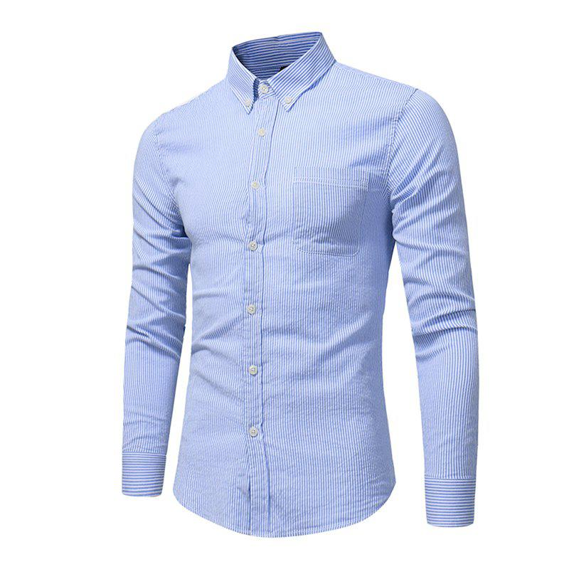 Perennial Hot Men'S Casual and Pure Color Long Sleeved Shirt C915 - DEEP BLUE 3XL