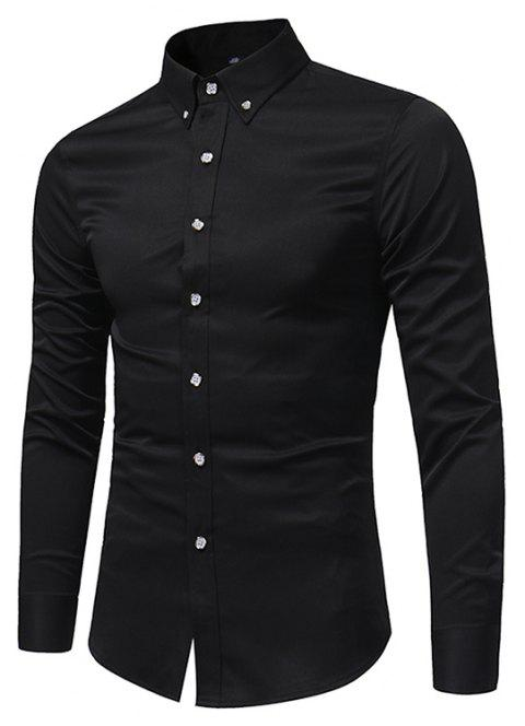 Spring and Autumn Popular Cotton Long Sleeved Shirt C913 - BLACK L