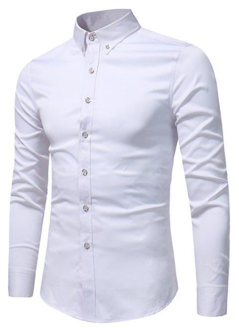 Spring and Autumn Popular Cotton Long Sleeved Shirt C913 - WHITE L