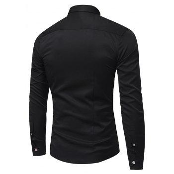 Spring and Autumn Popular Cotton Long Sleeved Shirt C913 - BLACK 2XL