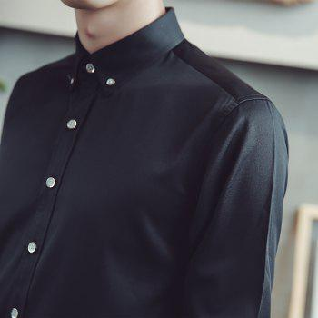 Spring and Autumn Popular Cotton Long Sleeved Shirt C913 - BLACK 3XL