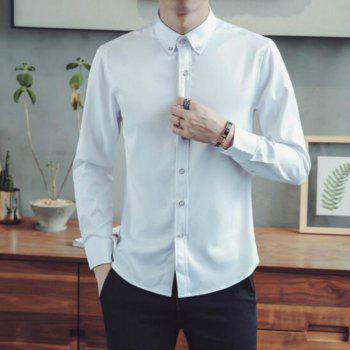 Spring and Autumn Popular Cotton Long Sleeved Shirt C913 - WHITE XL