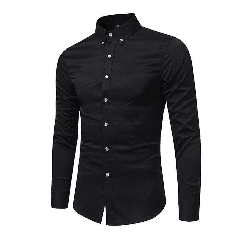 Spring and Autumn Popular Cotton Long Sleeved Shirt C913 - BLACK 5XL