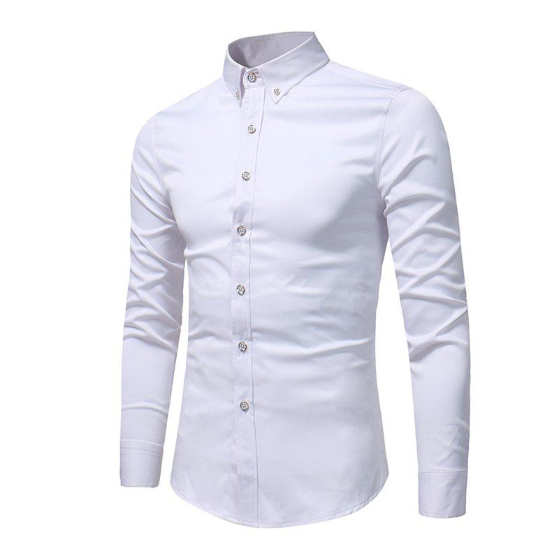 Spring and Autumn Popular Cotton Long Sleeved Shirt C913 - WHITE 5XL