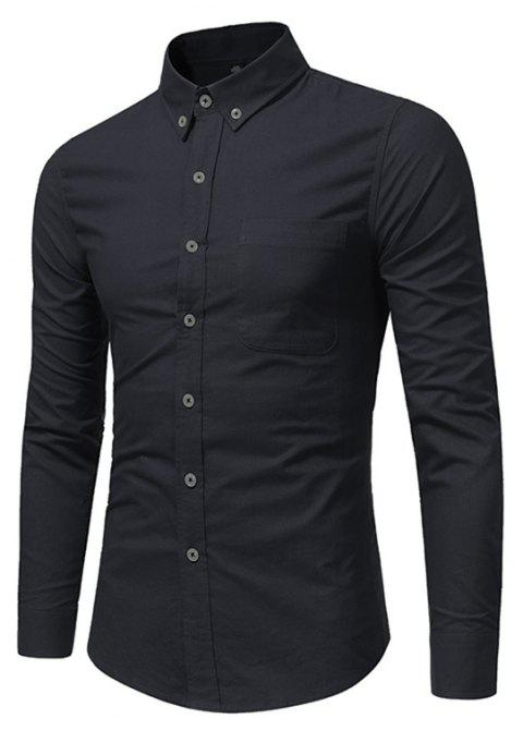 All Year Best-Selling Men'S Fashion Leisure Whole Cotton Shirt C914 - BLACK XL
