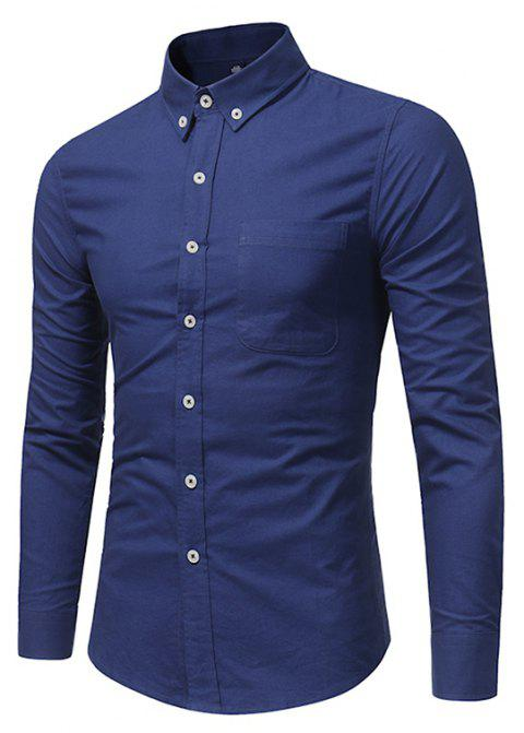 All Year Best-Selling Men'S Fashion Leisure Whole Cotton Shirt C914 - DEEP BLUE 2XL