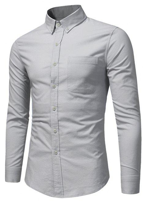 All Year Best-Selling Men'S Fashion Leisure Whole Cotton Shirt C914 - GRAY S