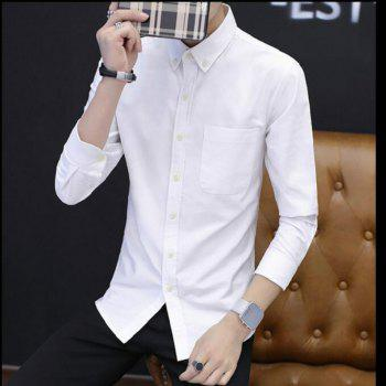 All Year Best-Selling Men'S Fashion Leisure Whole Cotton Shirt C914 - WHITE L