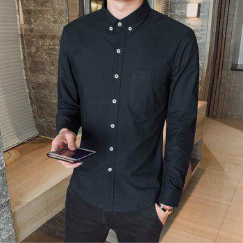 All Year Best-Selling Men'S Fashion Leisure Whole Cotton Shirt C914 - BLACK 3XL