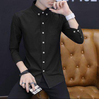 All Year Best-Selling Men'S Fashion Leisure Whole Cotton Shirt C914 - BLACK M