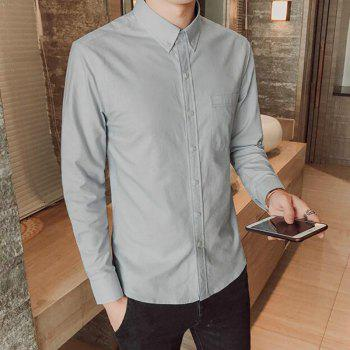 All Year Best-Selling Men'S Fashion Leisure Whole Cotton Shirt C914 - GRAY 2XL