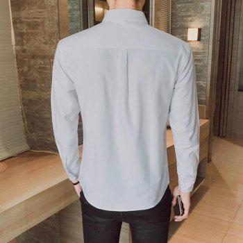 All Year Best-Selling Men'S Fashion Leisure Whole Cotton Shirt C914 - GRAY 3XL