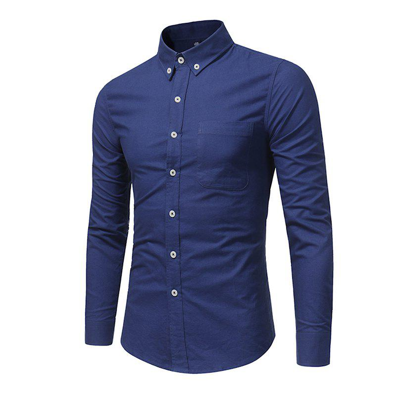 All Year Best-Selling Men'S Fashion Leisure Whole Cotton Shirt C914 - DEEP BLUE XL