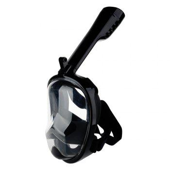 Full Face Snorkel Mask with Panoramic View Anti-Fog Anti-Leak Anti-vertigo Design 180 Degrees Viewing field of vision - BLACK S/M