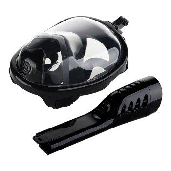 Full Face Snorkel Mask with Panoramic View Anti-Fog Anti-Leak Anti-vertigo Design 180 Degrees Viewing field of vision - BLACK L/XL
