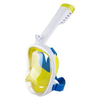 Full Face Snorkel Mask with Panoramic View Anti-Fog Anti-Leak Anti-vertigo Design 180 Degrees Viewing field of vision - WHITE/YELLOW S/M