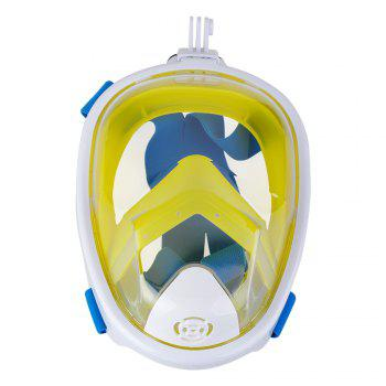 Full Face Snorkel Mask with Panoramic View Anti-Fog Anti-Leak Anti-vertigo Design 180 Degrees Viewing field of vision - WHITE/YELLOW L/XL