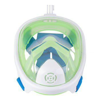 Full Face Snorkel Mask with Panoramic View Anti-Fog Anti-Leak Anti-vertigo Design 180 Degrees Viewing field of vision - WHITE / GREEN L/XL