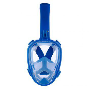 Full Face Snorkel Mask with Panoramic View Anti-Fog Anti-Leak Anti-vertigo Design 180 Degrees Viewing field of vision - BLUE BLUE