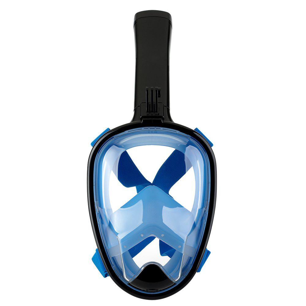 Full Face Snorkel Mask with Panoramic View Anti-Fog Anti-Leak Anti-vertigo Design 180 Degrees Viewing field of vision - BLACK / BLUE S/M