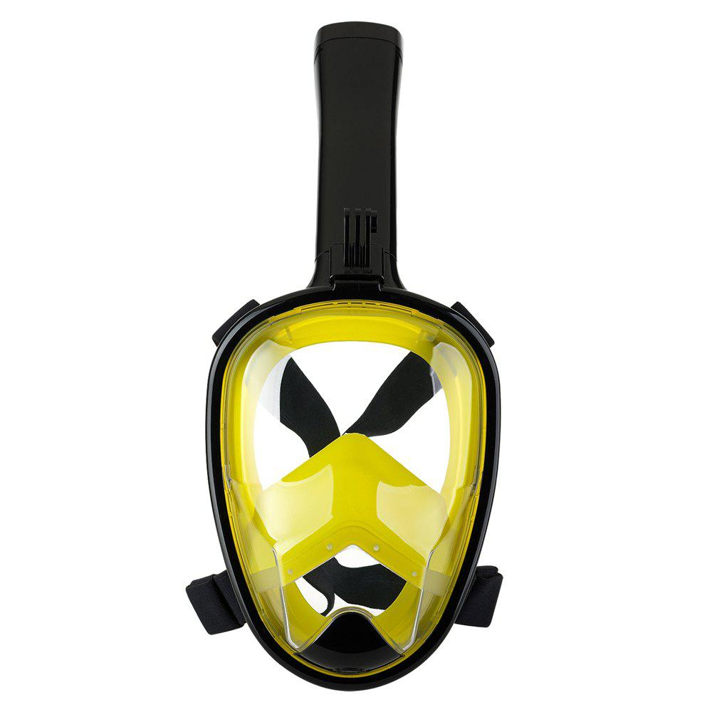 Full Face Snorkel Mask with Panoramic View Anti-Fog Anti-Leak Anti-vertigo Design 180 Degrees Viewing field of vision - BLACK/YELLOW S/M