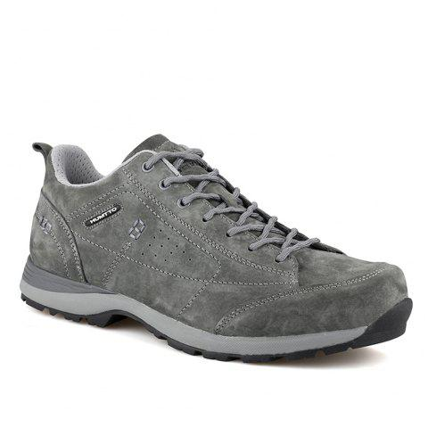 HUMTTO Men Trekking Shoes Breathable Sneakers Leather Walking Shoes - GRAY 40