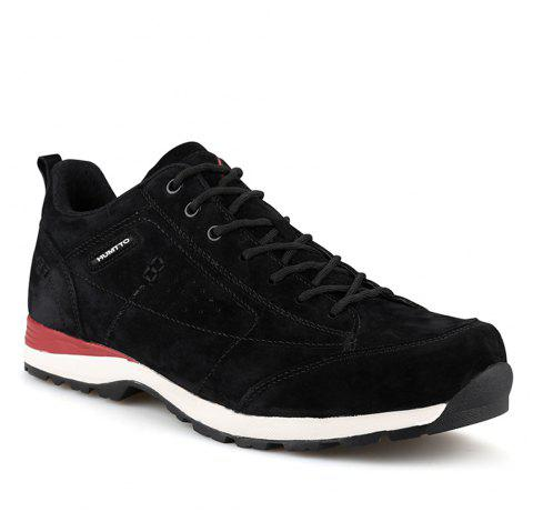 HUMTTO Men Trekking Shoes Breathable Sneakers Leather Walking Shoes - BLACK/RED 41