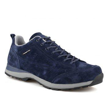 HUMTTO Men Trekking Shoes Breathable Sneakers Leather Walking Shoes - DEEP BLUE DEEP BLUE