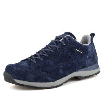 HUMTTO Men Trekking Shoes Breathable Sneakers Leather Walking Shoes - DEEP BLUE 40