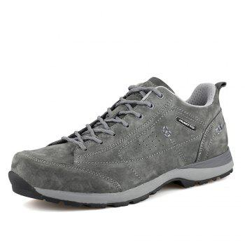 HUMTTO Men Trekking Shoes Breathable Sneakers Leather Walking Shoes - GRAY 44