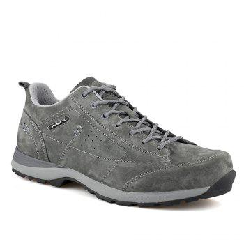 HUMTTO Men Trekking Shoes Breathable Sneakers Leather Walking Shoes - GRAY GRAY