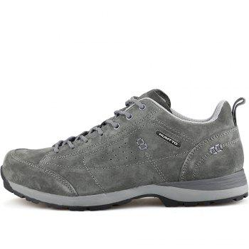 HUMTTO Men Trekking Shoes Breathable Sneakers Leather Walking Shoes - GRAY 39