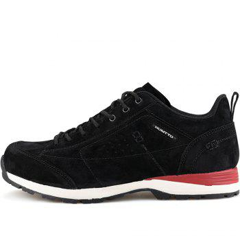 HUMTTO Men Trekking Shoes Breathable Sneakers Leather Walking Shoes - BLACK/RED BLACK/RED