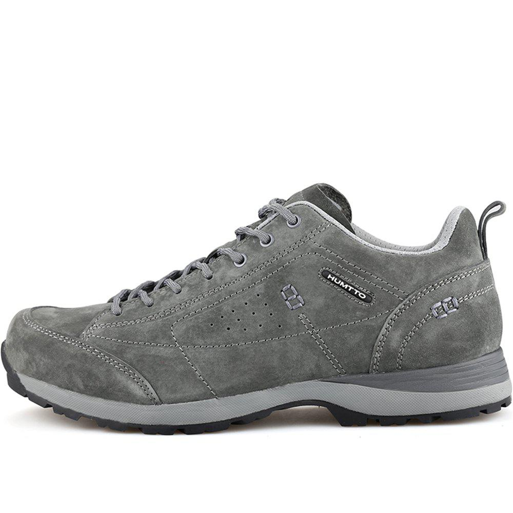 HUMTTO Men Trekking Shoes Breathable Sneakers Leather Walking Shoes - GRAY 42