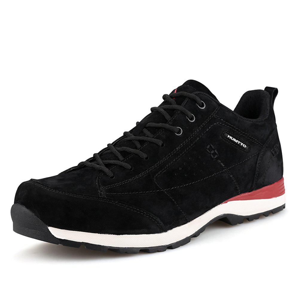 HUMTTO Men Trekking Shoes Breathable Sneakers Leather Walking Shoes - BLACK/RED 39