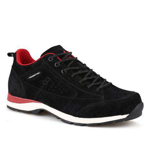 HUMTTO Women Trekking Shoes Breathable Sneakers Leather Walking Shoes - BLACK/RED 36