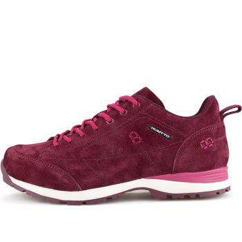 HUMTTO Women Trekking Shoes Breathable Sneakers Leather Walking Shoes - WINE RED 37