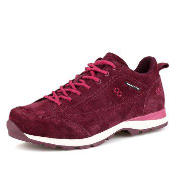 HUMTTO Women Trekking Shoes Breathable Sneakers Leather Walking Shoes - WINE RED 38