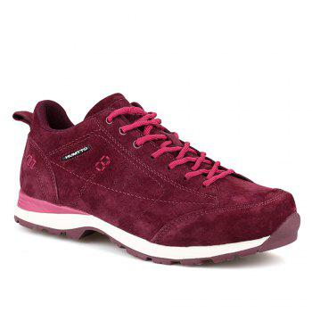 HUMTTO Women Trekking Shoes Breathable Sneakers Leather Walking Shoes - WINE RED WINE RED