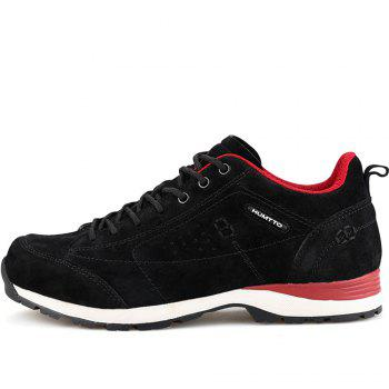 HUMTTO Women Trekking Shoes Breathable Sneakers Leather Walking Shoes - BLACK/RED 39