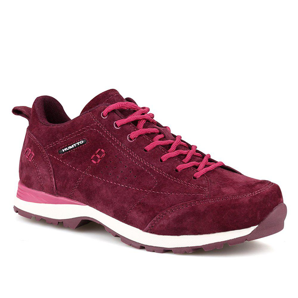 HUMTTO Women Trekking Shoes Breathable Sneakers Leather Walking Shoes - WINE RED 39