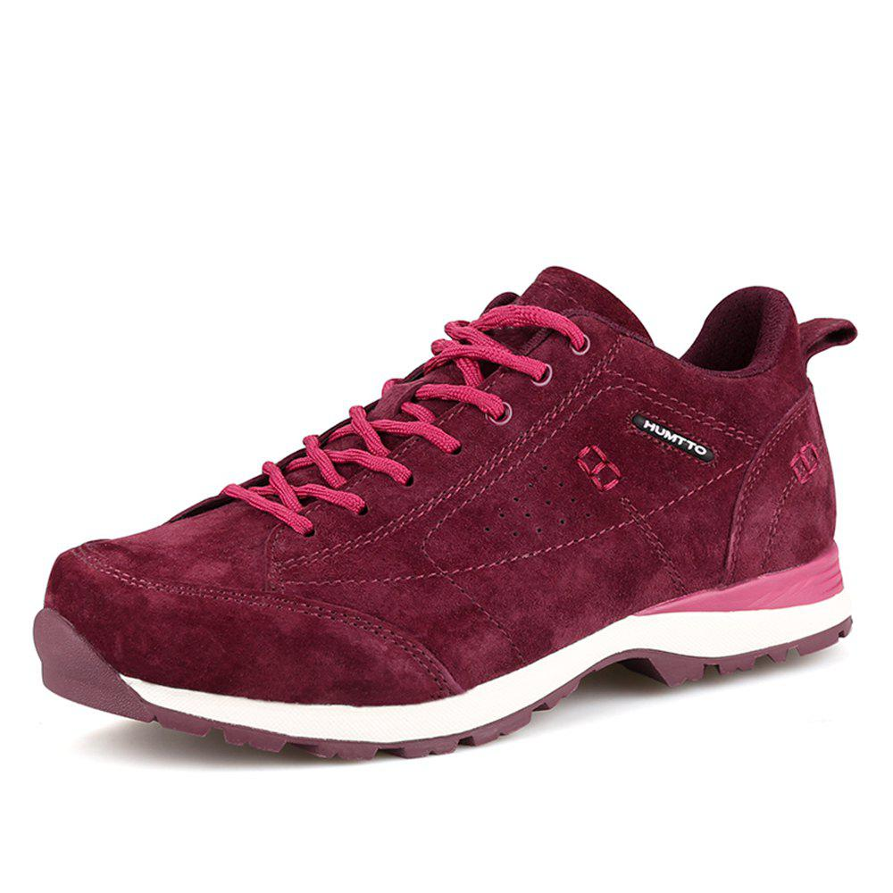 HUMTTO Women Trekking Shoes Breathable Sneakers Leather Walking Shoes - WINE RED 40