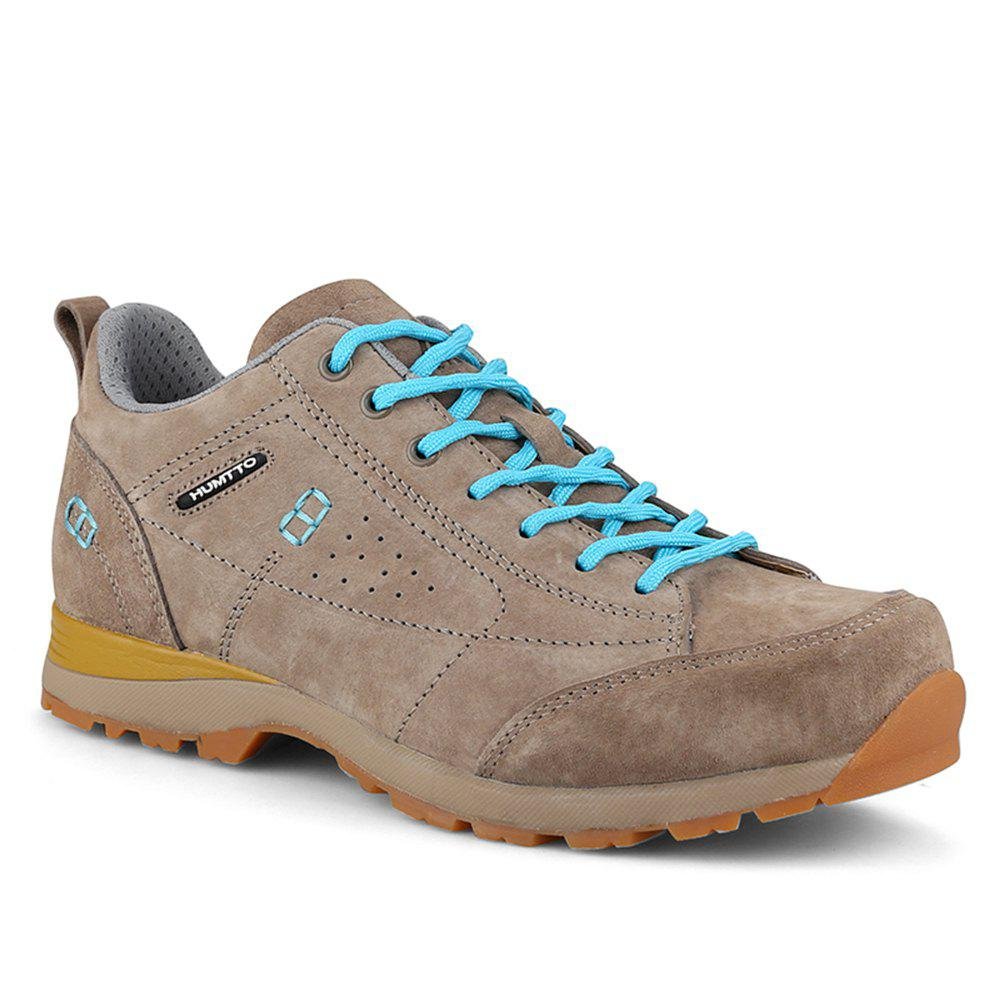 HUMTTO Women Trekking Shoes Breathable Sneakers Leather Walking Shoes - CAMEL 37