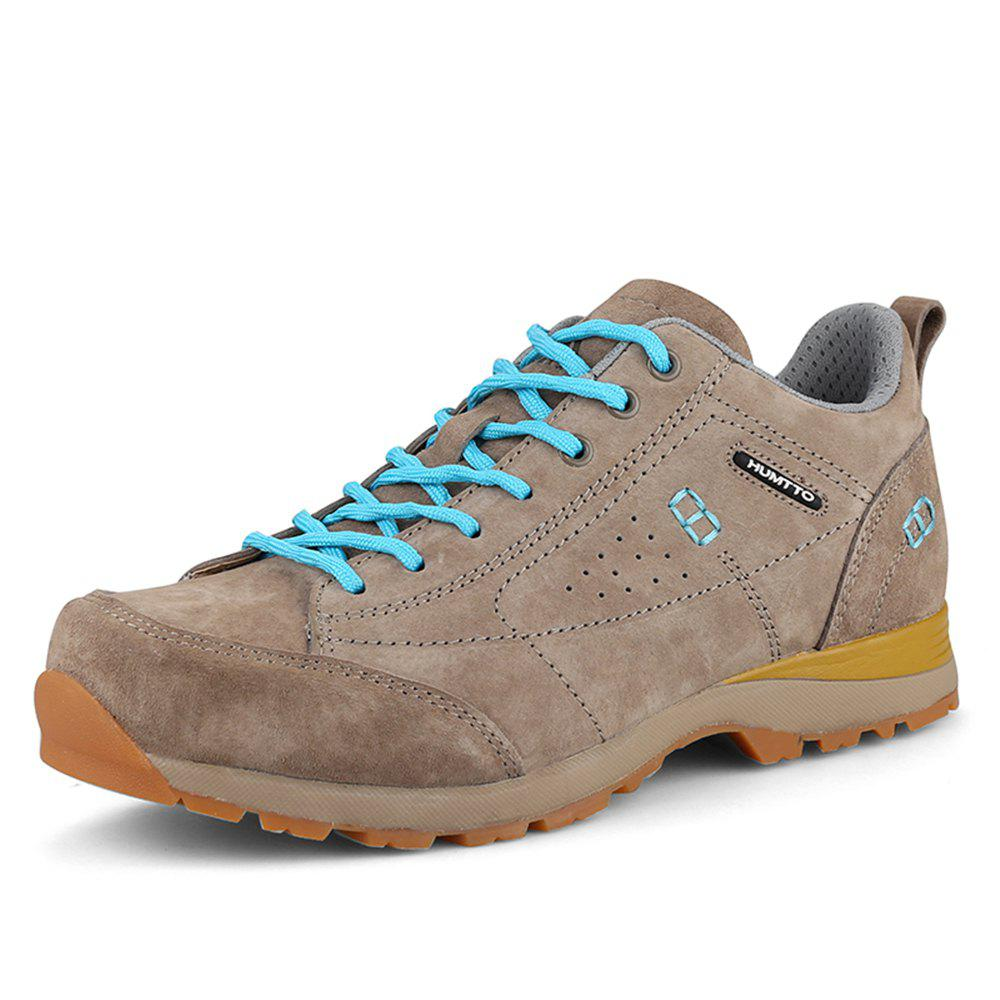 HUMTTO Women Trekking Shoes Breathable Sneakers Leather Walking Shoes - CAMEL 40