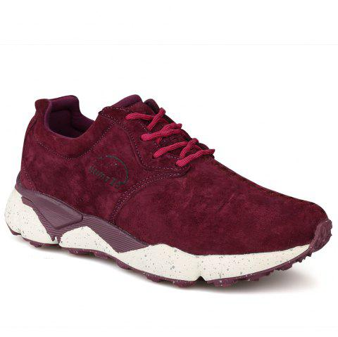 HUMTTO Women Running Shoes Cushioning Light Leather Breathable Sneakers - WINE RED 36