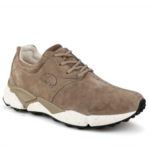 HUMTTO Women Running Shoes Cushioning Light Leather Breathable Sneakers - CAMEL 38